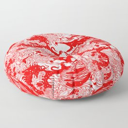 Big waves Red Floor Pillow