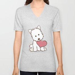 Westie Dog with Love Illustration Unisex V-Neck