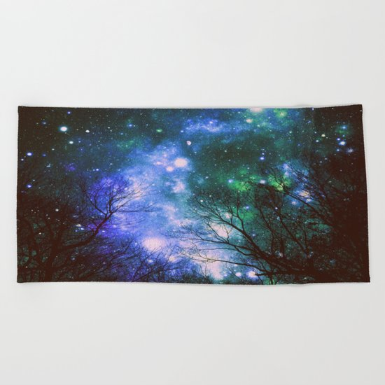 Black Trees Violet Green Space Beach Towel