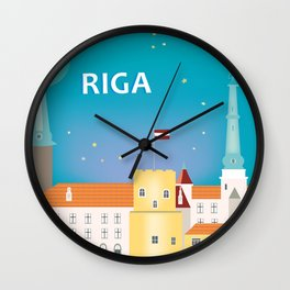 Riga, Latvia - Skyline Illustration by Loose Petals Wall Clock