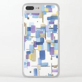 Watercolor Tetris Clear iPhone Case