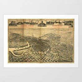 Aerial View of Northern Stockton, California (1895) Art Print