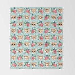 Tabby cat florals flowers must have cat themed gifts pet portrait cat lady mint pastel cat art fur Throw Blanket