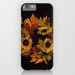 Autumn Wreath Noir iPhone Case