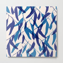 Gum leaves pattern in blue Metal Print
