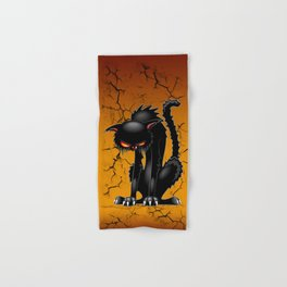 Black Cat Evil Angry Funny Character Hand & Bath Towel