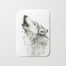 Wolf Howling Watercolor Animals Wildlife Painting Animal Portrait Bath Mat