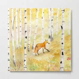 Fox in Birch Forest  Metal Print