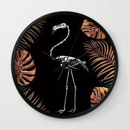 Florida Fall Flamingo Skeleton Wall Clock