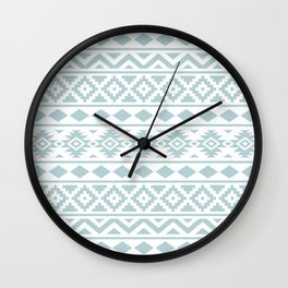 Aztec Essence Ptn III Duck Egg Blue on White Wall Clock