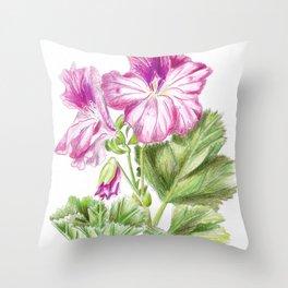 Royal geranium flower Throw Pillow