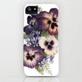 Watercolor Pansy Bouquet iPhone Case