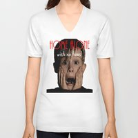 home alone V-neck T-shirts featuring Home Alone by Darius Malone