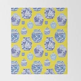 Chinoiserie Ginger Jar Collection No.2 Throw Blanket