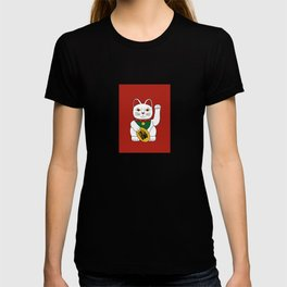 Maneki Neko - lucky cat - red T-shirt
