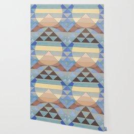 Pyramid Sun Turquoise Wallpaper
