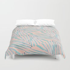 Palm Leaves Coral Duvet Cover
