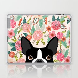 Boston Terrier floral dog head cute pet portrait gifts for boston terriers must haves Laptop & iPad Skin