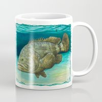 lichtenstein Mugs featuring Goliath Grouper ~ Watercolor by Amber Marine