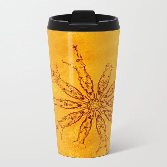Smoke flowers on textured yellow Metal Travel Mug