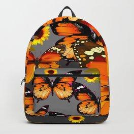 YELLOW & BROWN BUTTERFLIES  SUNFLOWER GREY ART Backpack