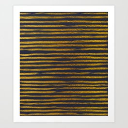 Squiggly Gold Foil Brush Stroke Hand-Painted Lines on Midnight Navy Blue Art Print