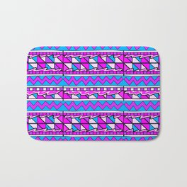 Latin American Pattern Pink Purple Blue. Funky Art. Colourful Pattern Bath Mat