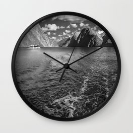 A boat ride in the morning at Milford Sound in black and white Wall Clock