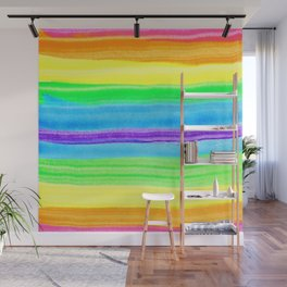 Neon Rainbow Watercolor Stripes Wall Mural