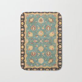 Oushak  Antique Gold Teal Turkish Rug Print Bath Mat