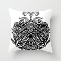 henna Throw Pillows featuring Henna of Pugly by Huebucket