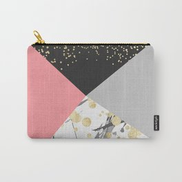 Modern faux gold pink color block confetti Carry-All Pouch