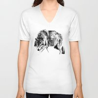 wolf V-neck T-shirts featuring Wolf by Anna Shell
