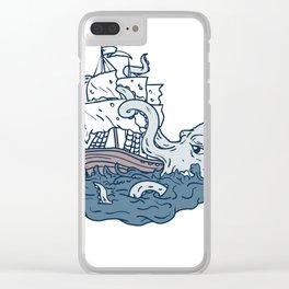 Kraken Attacking Sailing Galleon Doodle Art Color Clear iPhone Case