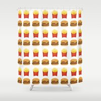 french fries Shower Curtains featuring Burgers and Fries Pattern by A Little Leafy