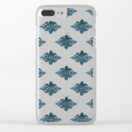 Evil Eyes Blue Clear iPhone Case