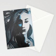 Women In Blue Stationery Cards