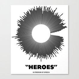 Bowie - Heroes Mono Soundwave Canvas Print