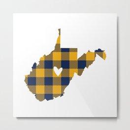 West Virginia Buffalo Plaid Outline Metal Print