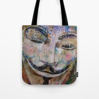 anonymous Tote Bags featuring Anonymous by Michael Creese