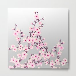 Cherry Blossoms Pink Gray Metal Print
