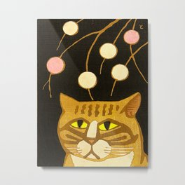Japanese Cat Cubism Woodblock Print Cherry Blossom Midcentury Modern Metal Print