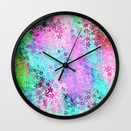 flower pattern abstract background in pink purple blue green Wall Clock