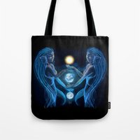 twins Tote Bags featuring Twins by Asilh87