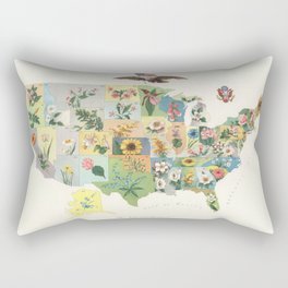 Vintage US State Flower Map (1911) Rectangular Pillow