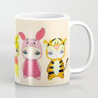 piglet Mugs featuring A Boy - Winnie and friends by Christophe Chiozzi