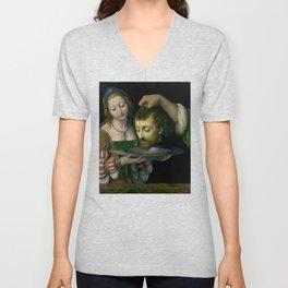Salome with the Head of Saint John the Baptist - Andrea Solario Unisex V-Neck