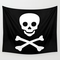 pirate ship Wall Tapestries featuring Pirate Flag by Fun With Flags