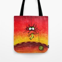 knitting Tote Bags featuring Knitting Spider by Frank