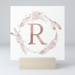 Letter R Rose Gold Pink Initial Monogram Mini Art Print